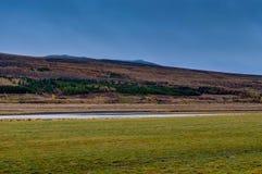 Исландский ландшафт с горами и красочными деревьями около Reyk Стоковые Изображения RF