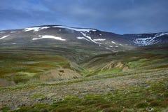 Исландский ландшафт с горами Tindastoll на заднем плане Полуостров Skagi стоковые изображения rf