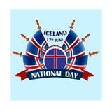Исландский национальный праздник, иллюстрация с национальными флагами Стоковое фото RF