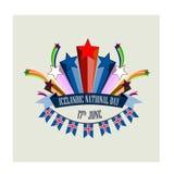 Исландский национальный праздник, иллюстрация с стилизованными праздничными фейерверками Стоковые Фото