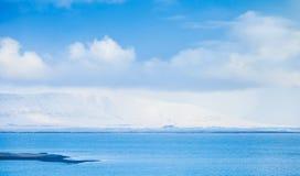 Исландский прибрежный ландшафт, малый остров Стоковое Изображение