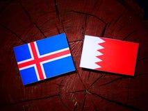 Исландский флаг с бахрейнским флагом на пне дерева Стоковое Изображение