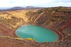 Исландское озеро Kerið Kerith или Kerid ландшафта стоковые изображения rf