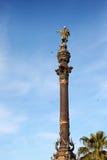 Испания. Барселона. Памятник Columbus.Cityscape в солнечном дне стоковое изображение rf