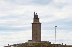 Испания, Галиция, Coruna, маяк башни Геркулеса Стоковое Изображение RF