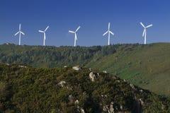 Испания, Галиция, ветротурбины Стоковые Изображения