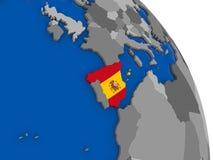 Испания и свой флаг на глобусе бесплатная иллюстрация