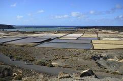 Испания, Канарские острова, остров Лансароте, квартиры соли стоковая фотография rf