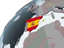 Испания с флагом на глобусе бесплатная иллюстрация