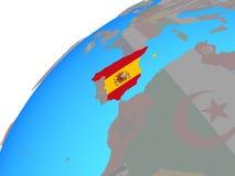 Испания с флагом на глобусе иллюстрация вектора