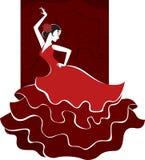 Испанская девушка в традиционном платье Стоковые Изображения