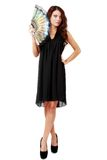 Испанская женщина с вентилятором и черным платьем Стоковые Фотографии RF