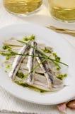 Испанская кухня. Marinated свежие камсы. Boquerones. Стоковое Фото