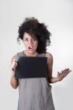 Испанская модель брюнет с афро любит волосы Стоковая Фотография RF