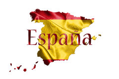 Испанские национальный флаг и карта при имя страны написанное на ем 3D Стоковая Фотография