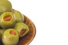 Испанские оливки с затиром пимента Стоковое Изображение