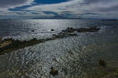 Испанские побережье и Африка на предпосылке стоковая фотография rf