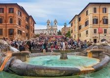Испанские шаги и фонтан в Риме Стоковая Фотография RF