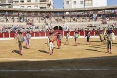 Испанские bullfighters на paseillo или начальном параде в Ubeda Стоковые Фотографии RF