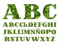 Испанский алфавит, ягоды и травы, зеленый цвет, вектор Стоковая Фотография