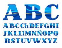Испанский алфавит, Aqua, шрифт вектора, прописные буквы Стоковые Фотографии RF