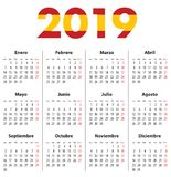 Испанский календарь на 2019 Понедельники сперва иллюстрация вектора