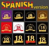 Испанский набор 18 18 лет иллюстрация штока