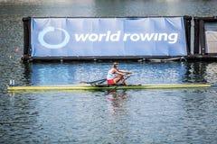 Испанский спортсмен на rowing конкуренции чашки мира гребя Стоковая Фотография