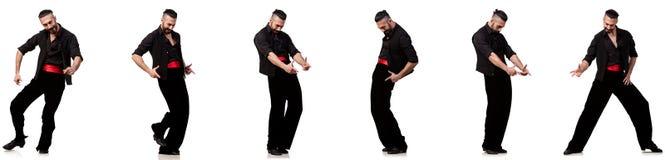Испанский танцор в различных представлениях на белизну Стоковые Фото