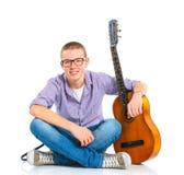 испанский язык гитары мальчика классический Стоковое Изображение