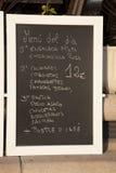 испанский язык меню еды Стоковая Фотография