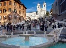 Испанский язык шагает фонтан Аркада di Spagna Рим barcaccia Стоковая Фотография RF