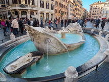 Испанский язык шагает фонтан Аркада di Spagna Рим barcaccia Стоковое Изображение