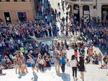 Испанский язык шагает barcaccia уродский фонтан Аркада di Spagna Стоковые Фотографии RF