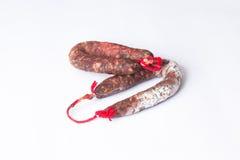 2 испанских chorizos в белой предпосылке Стоковая Фотография