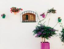 Испанское окно с цветками стоковые фотографии rf