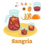 Испанское традиционное питье красного вина sangria с плодоовощами Иллюстрация штока