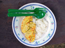 Испаренное яичко и сваренный рис Стоковое фото RF
