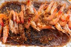 Испаренные креветки с луком стоковые фотографии rf