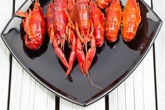 Испаренные ракы Ые Crawfish woden предпосылка Деревенский тип Конец-вверх стоковые фотографии rf
