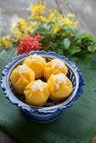 Испаренный десерт торта тыквы тайский - ремень Kanom Fak Стоковые Изображения