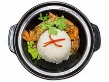 Испаренный рис при креветка, изолированная на белизне Стоковое Изображение
