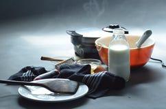 Испаряться утюг waffle делая waffle, шар бэттера Стоковые Фотографии RF