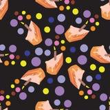 Испеките безшовную картину с покрашенными точками на черноте Предпосылка вектора Стоковое Изображение