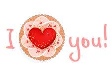 Испеките с большими красными сердцем и объявлением влюбленности Стоковые Изображения