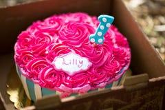 Испеките торт огромного успеха розовый с голубыми и белыми нашивками Стоковая Фотография RF
