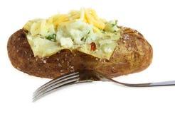 испеченная вилка изолировала картошку Стоковое Изображение