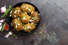 испеченная картошка Печь картошки испеченная с чесноком и розмариновым маслом Стоковые Фотографии RF