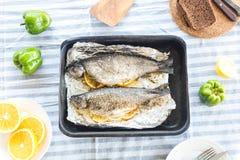 Испеченная форель с цитрусом, лимоном и апельсином Стоковые Изображения