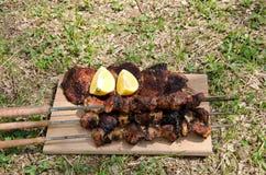 Испеченное мясо на зеленом луге Стоковые Изображения RF